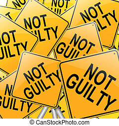 Not guilty concept - Illustration depicting many roadsigns...