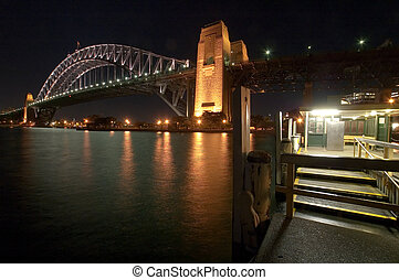 Harbour Bridge - night scene of Harbour Bridge in Sydney,...