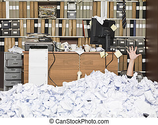 Buried Businesswoman - Businesswoman buried at the office