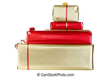 navidad, regalos, aislado, blanco