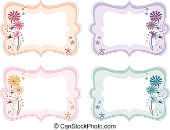 Floral labels in different colours - Four floral labels in...