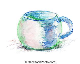 acuarela, Ilustración, taza