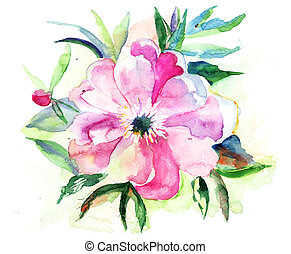 Stylized Pink flower, watercolor illustration