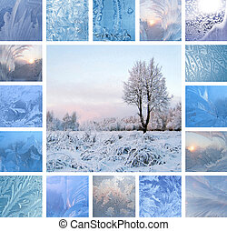 Winter collage - Collage of ice patterns on glass and winter...