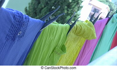 Laundry drying in the wind