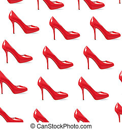Red high-heeled shoe seamless - EPS10 file. Red high-heeled...