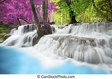 Erawan Waterfall - Level six of Erawan Waterfall in...
