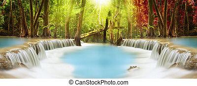Huai Mae Kamin Waterfall - Level two of Huai Mae Kamin...