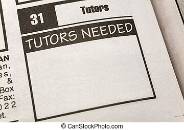 Classified Ad Tutors Needed - newspaper Classified Ad,Tutors...