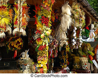 garlands of dried flowers - counter, which sells jewelry...