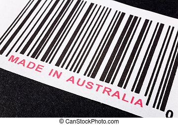 Made in Australia and barcode, business concept