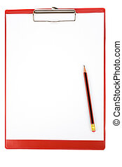 Red Clipboard with white background