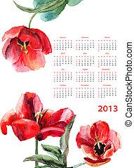 Calendário, 2013, bonito, tulips, flores