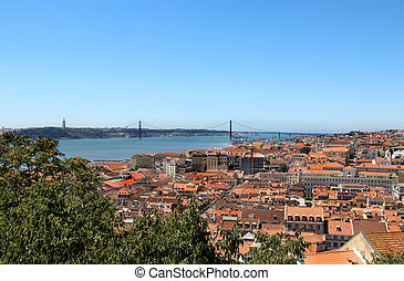 Lisbon panorama, Portugal ? buildings, roofs, churches -...