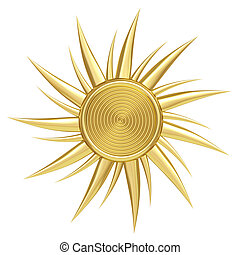 Golden sun symbol isolated on white background. High...
