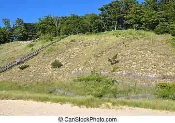 Lake Michigan sand dune - Scenic dunes on Lake Michigan.