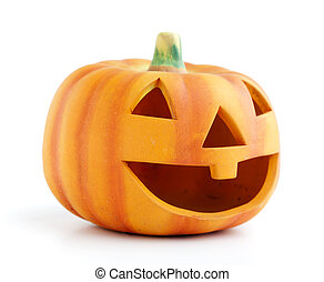 Halloween - Orange halloween pumpkin isolated on white...