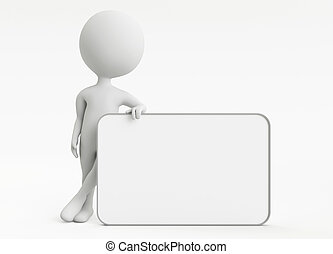 3d humanoid character with empty board