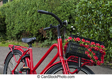 red bicycle with flower basket on it