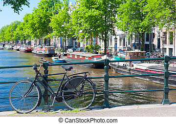 Bicycle on the bridge in Amsterdam