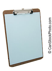 clipboard and blue paper