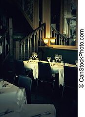 evening restaurant - evening interior in France restaurant