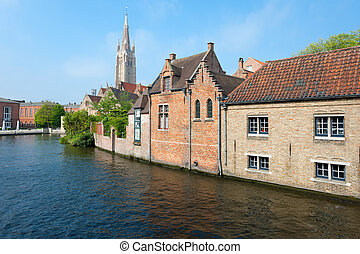 Wonderful view on a channel in Brugge, Belgium. GPS...