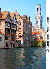 Belfry in Bruges - A view on Belfry and Rozenhoedkaai over...