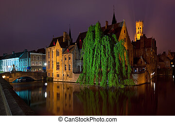 Night view on old buildings of Bruges - A night view on old...