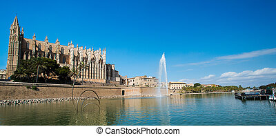 palma cathedral panorama - Santa Maria Cathedral, Palma de...