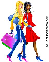 Shopping Girls - A nice fashionable couple of friends are...