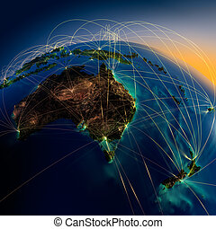 Main air routes in Australia and New Zealand - Highly...