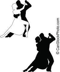 tango - couple dancing the tango in silhouette over white