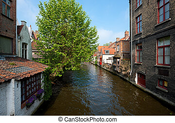Great view on a channel in Brugge, Belgium. GPS information...