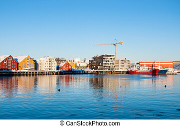 tromso waterfront - Colorful Tromso waterfront view from...