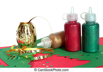 Making Christmas Cards - Supplies gathered for making a...