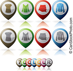 Womans Clothing - Woman's Clothing theme icons set from left...