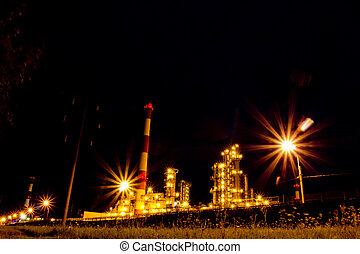 Refinery. Russia, Yaroslavl - The glow of lights refinery...
