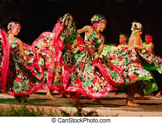 South American dancers - handmade watercolor painting...