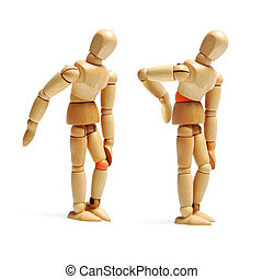 joints ache wooden puppets isolated