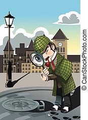Man exploring - A vector illustration of a man exploring a...