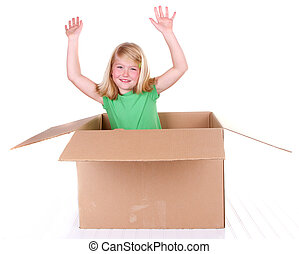 girl popping out of box - Girl popping out of cardboard box,...