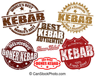Kebab stamps - Set of grunge rubber stamps with the word...