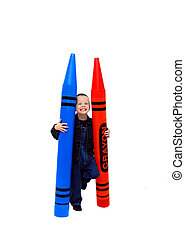 Above Average Colors - Small boy holds two giant crayons in...