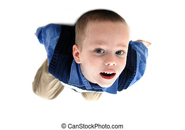 Glued to the Ceiling - Small boy hangs from the ceiling He...