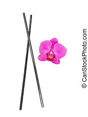 chopsticks with orchid