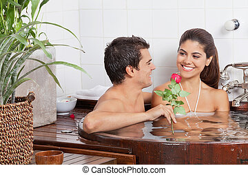 Young Couple In Bathtub