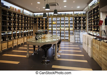 modern wine shop - interior of modern wine shop