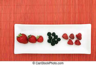 Fresh berries, fruits - nouvelle cuisine style - Healthy...