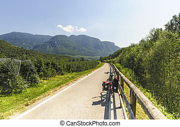 Cycle lane of the Adige valley near Bolzano Trentino Alto...